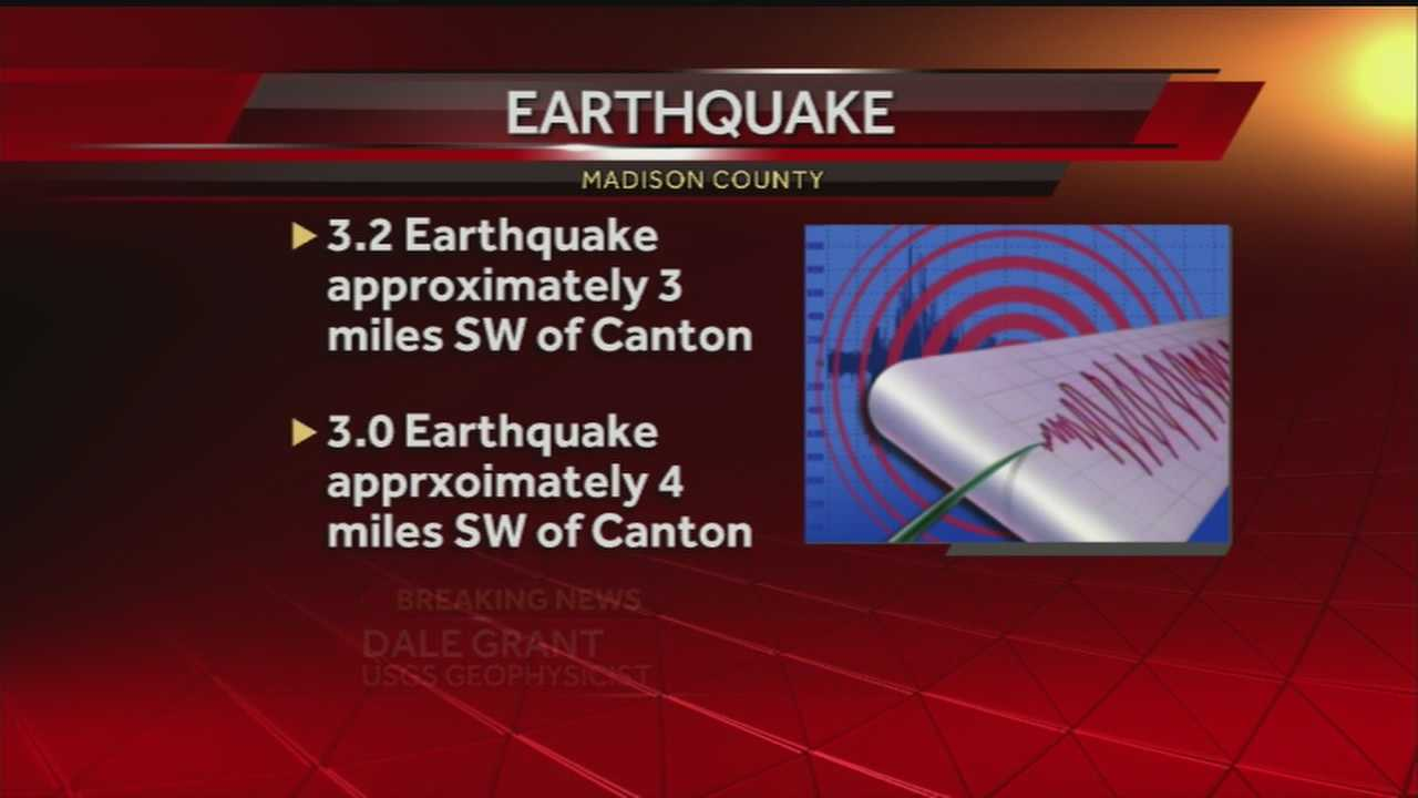 The US Geological Survey has confirmed two earthquakes in Madison County.
