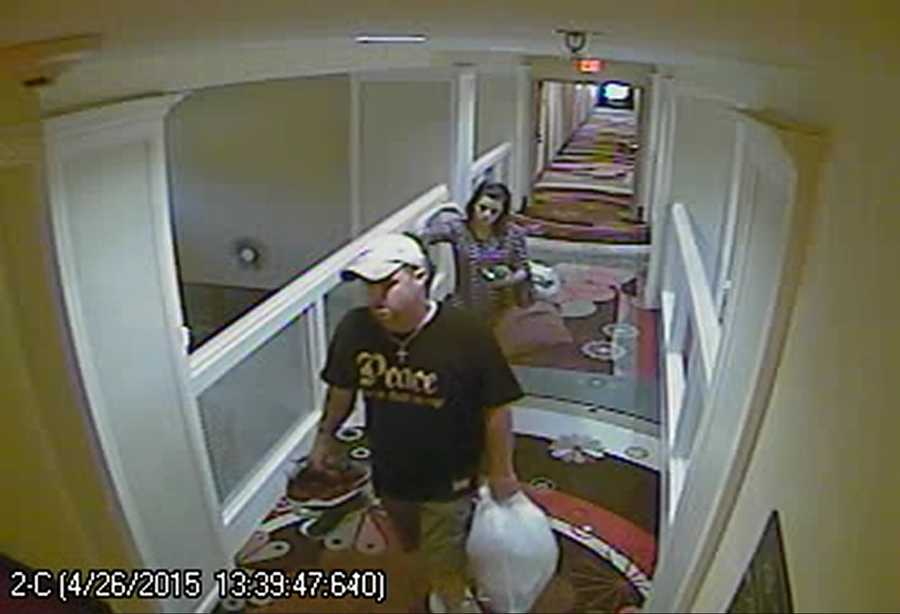 Police say Shaun Paul Meek and Leigh Ann Thrasher (Jackson) were caught on camera stealing luggage from Hampton Inn in Flowood.