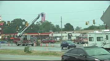 A flag flies over Highway 49 near Intestate 20 in Pearl.