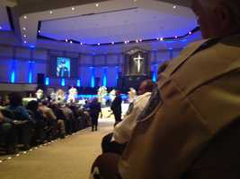 "Hundreds attend the funeral for Officer Benjamin ""BJ"" Deen, who was killed in the line of duty along with fellow Officer Liquori Tate."