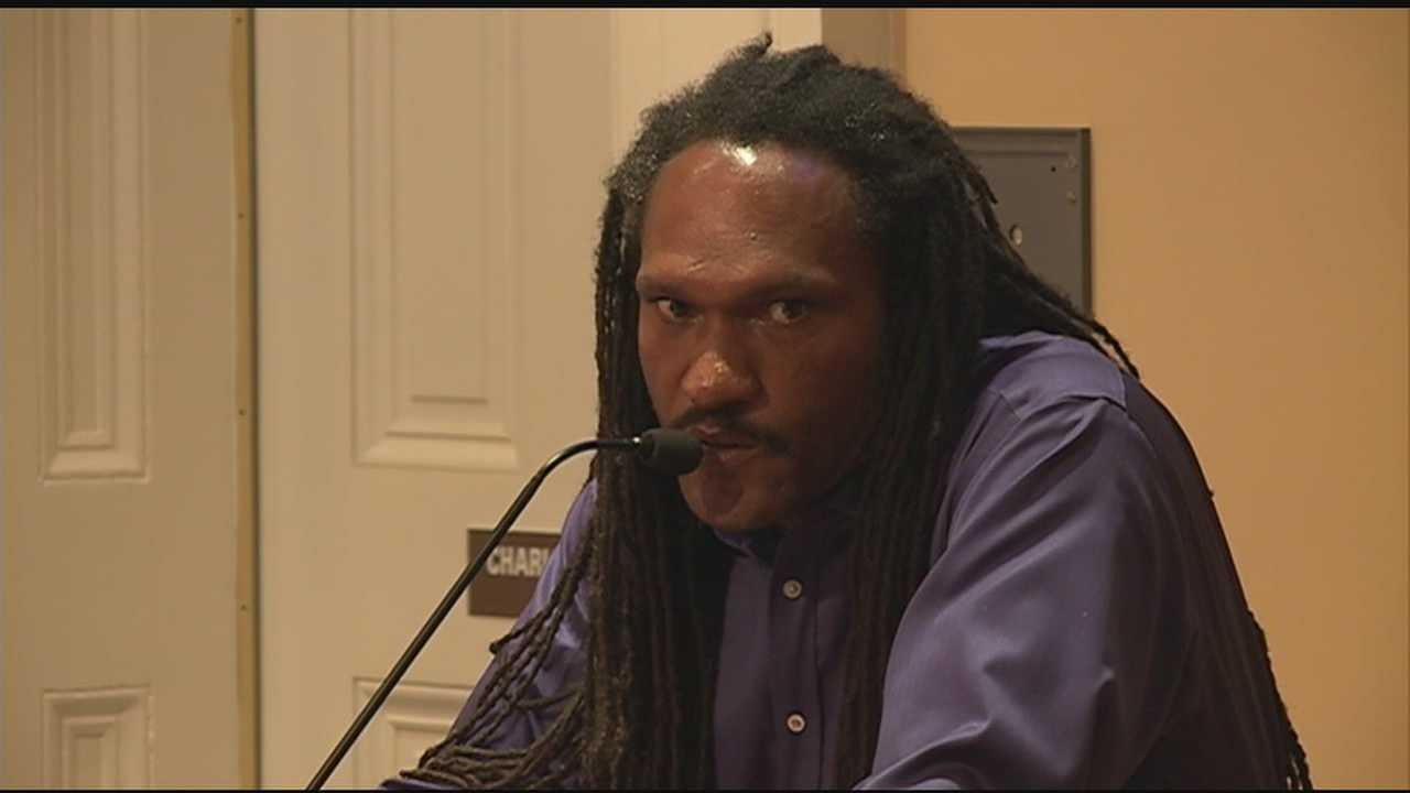 After a grilling by City Councilman Kenneth Stokes, Desmond Brown admits that he is not the owner of an embattled gas station as he had claimed.