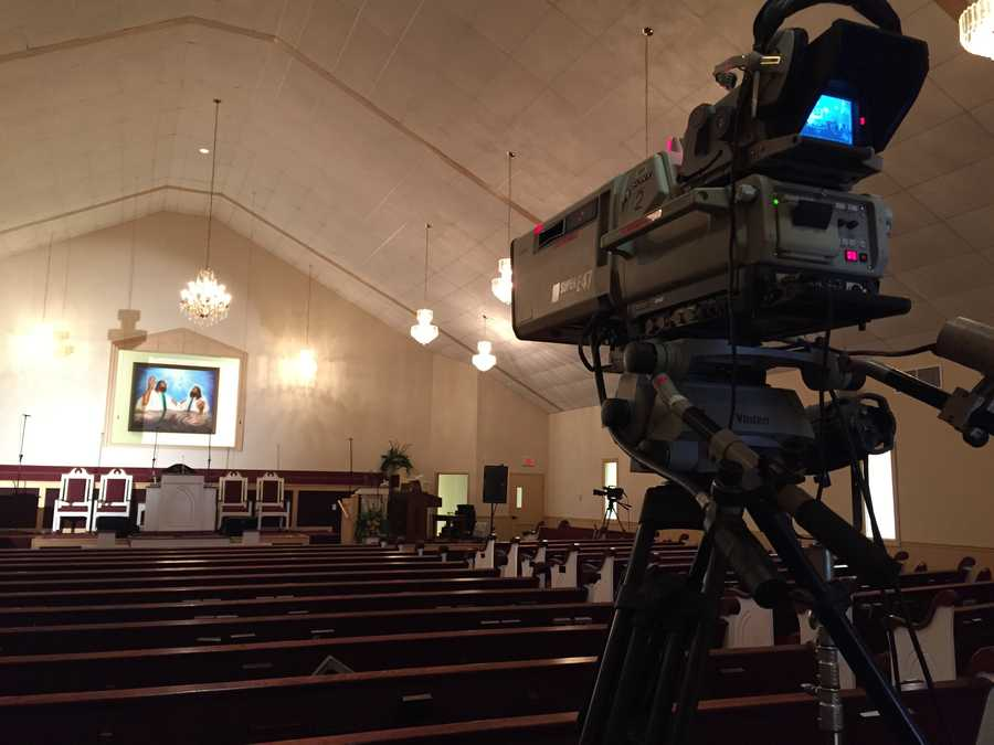 Crews were working Friday to set up for B.B. King's funeral.
