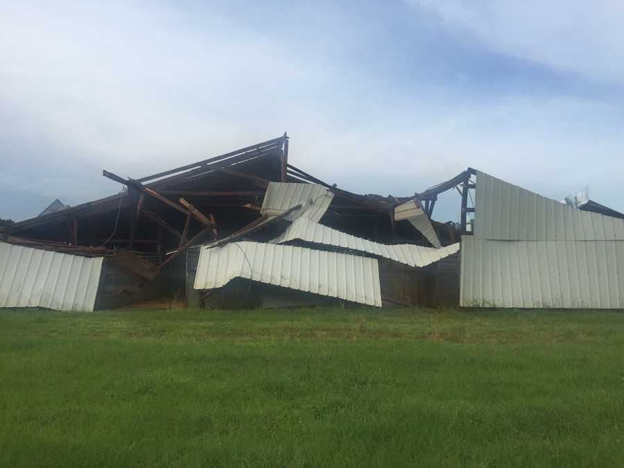 Tuesday morning's storms produced damage in Carthage.