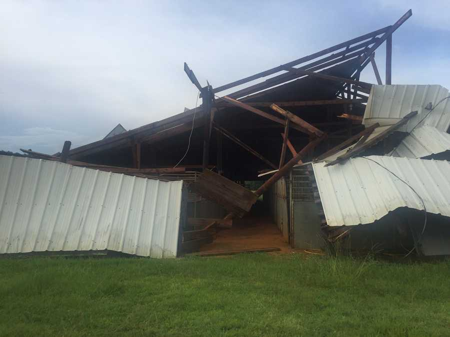 A horse barn was destroyed, but no animals were inside at the time.