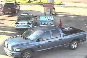 The suspect was seen driving a light blue Dodge 4 door, full size truck with damage to the driver's side rear area of the bed just under the taillight. The truck also has a stolen tag MS #HP8872, Brandon police say.