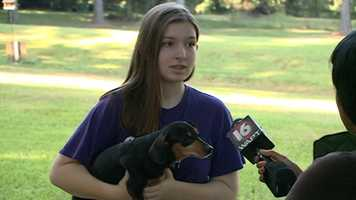 Riley Cheatham and her grandfather went back into the burning house to rescue Riley's dog, Susie.