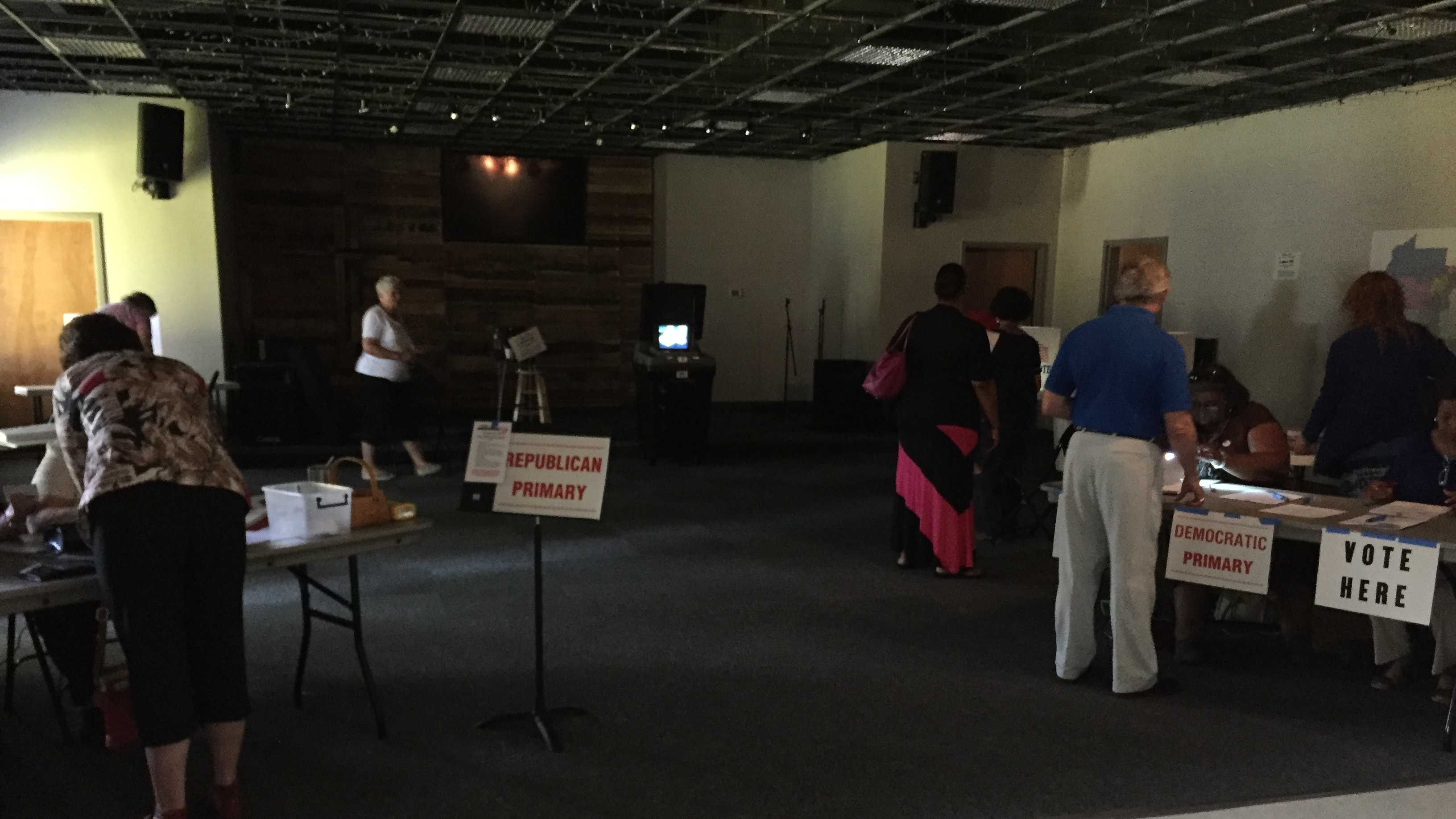 Voters at the First Baptist Church in Clinton had to cast their ballots in the dark.