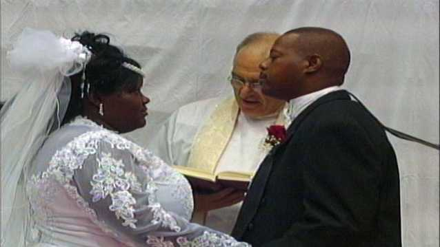 Joseph and Trenice Kirsh married in 2005 at the Mississippi Coliseum, which was serving as a shelter for Hurricane Katrina evacuees.