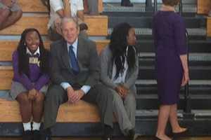 Former President George W. Bush was in New Orleans Friday before traveling to Gulfport for the event.