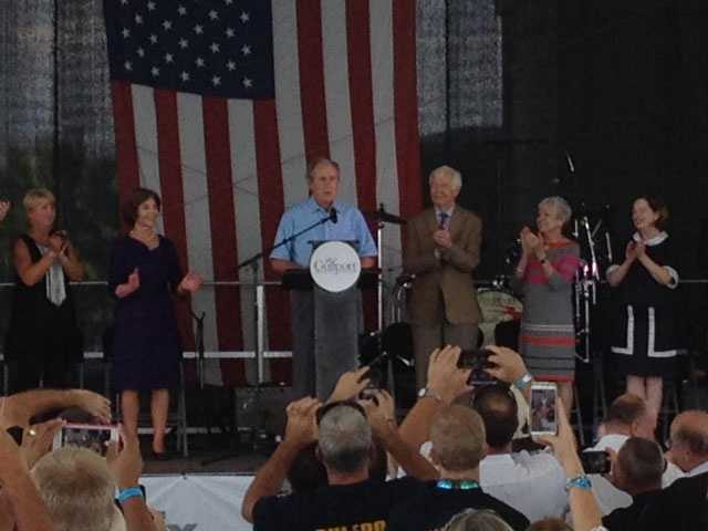 Former President George W. Bush and wife Laura, attend an event in Gulfport to remember Hurricane Katrina.