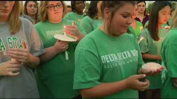 Thousands of students, staff and community members showing their support for the delta state professor murdered on campus.