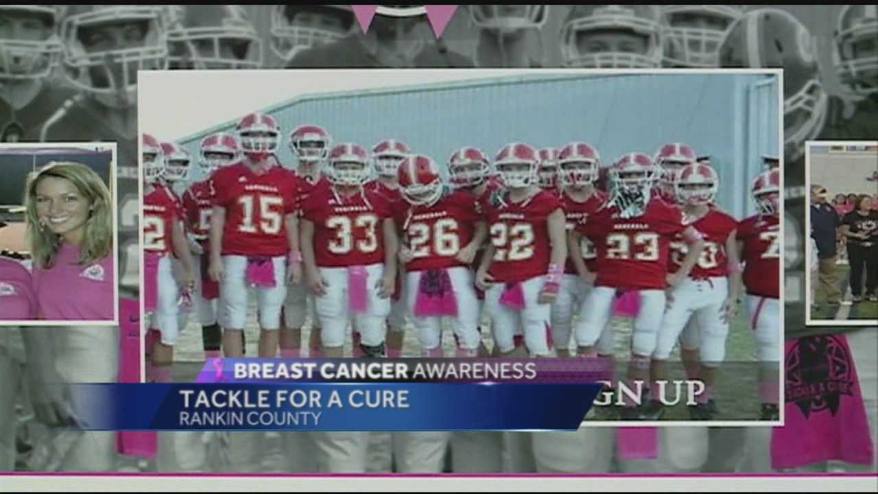 16 WAPT's Allie Ware talks to a group that wants to draw attention to breast cancer by having high school athletes wear pink Friday night