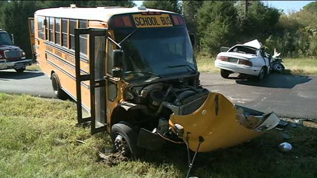 A school bus and a car collided Wednesday, injuring both drivers. No students were on the bus.