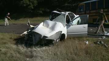 The driver of the car, identified as Mario Coleman Jr., was seriously injured in the crash.