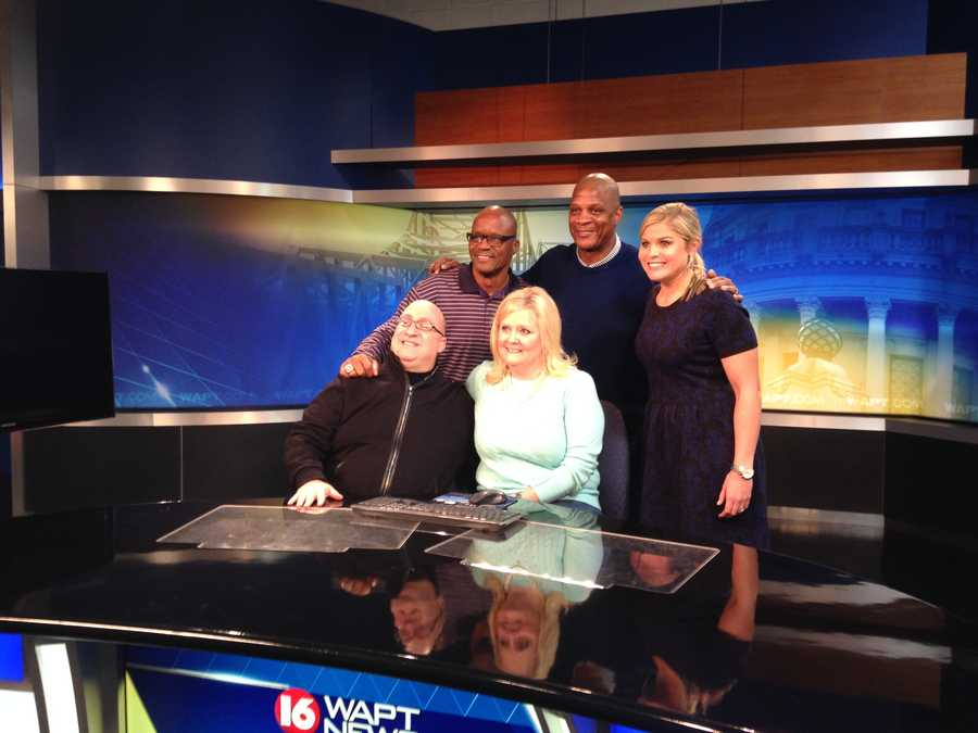 Darryl Strawberry posed for photos on the 16 WAPT News set with Allie Ware.