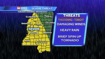 Severe storms are threatening central Mississippi late Tuesday afternoon through Wednesday morning.