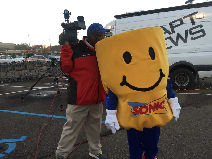 Sonic's Tater Tot is examined by 16 WAPT photojournalist James Foster.