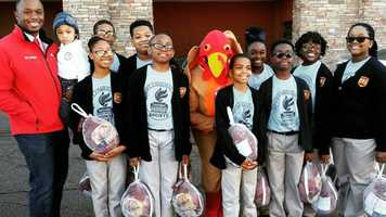 The kids from New Hope Christian School came by and dropped off nearly two dozen turkeys.