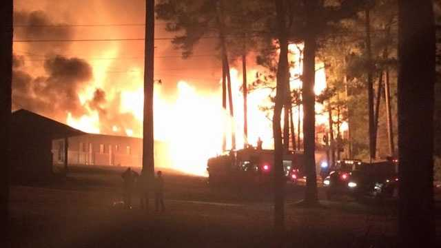 Residents reported hearing an explosion before the fire broke out.