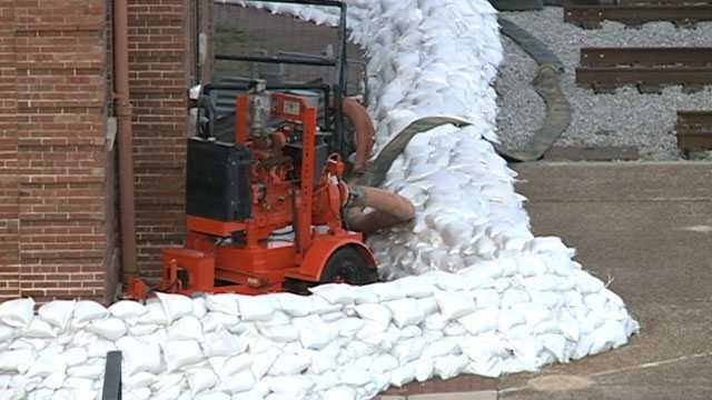 Sandbags are stacked up around the old Train Depot in Vicksburg.