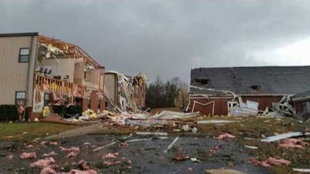 Damage to the First Baptist Church in Collinsville, courtesy of Lee Cottrill.