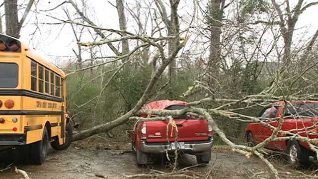 A tornado hit Wesson, knocking down trees and damaging the roof at Wesson Attendance Center.