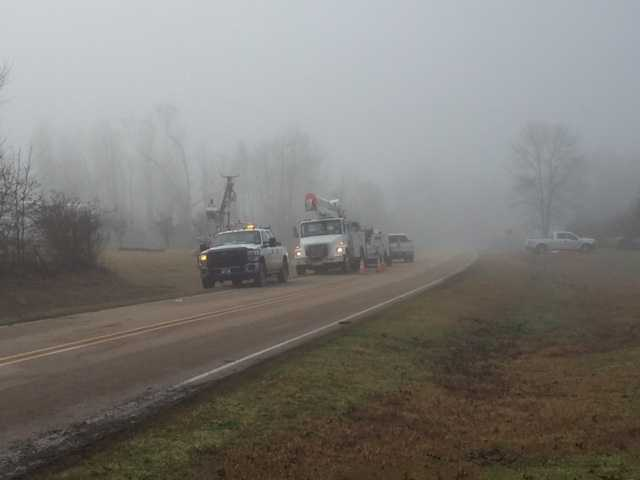 Power crews were out the day after the storm working to repair storm damage.