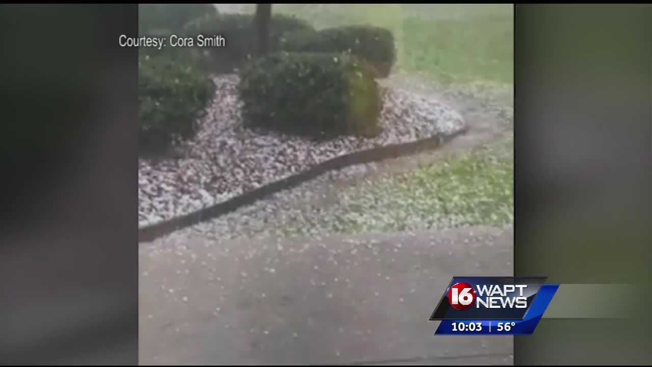 Hail came down hard in several counties in Mississippi