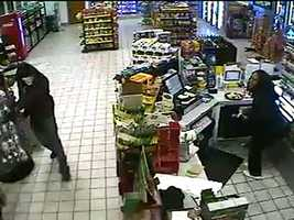 Two gunmen entered the Blue Sky convenience store Thursday night.