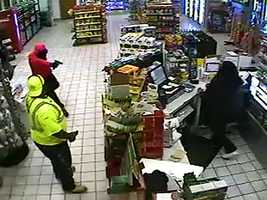 Byram police release surveillance images of an armed robbery at a gas station.