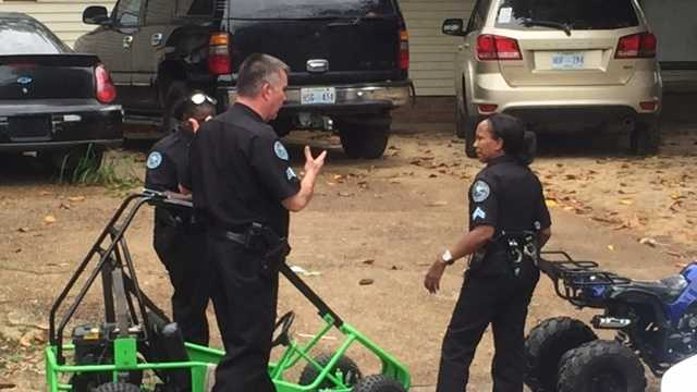 Jackson police find a stolen 4-wheeler, go-carts and a scooter behind a house on Nichols Street.