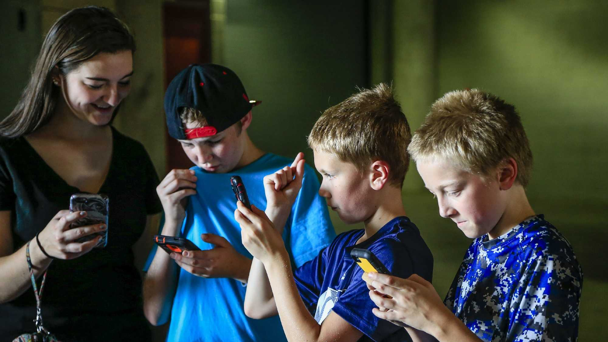 "Youngsters play during a ""Pokemon Go"" event."
