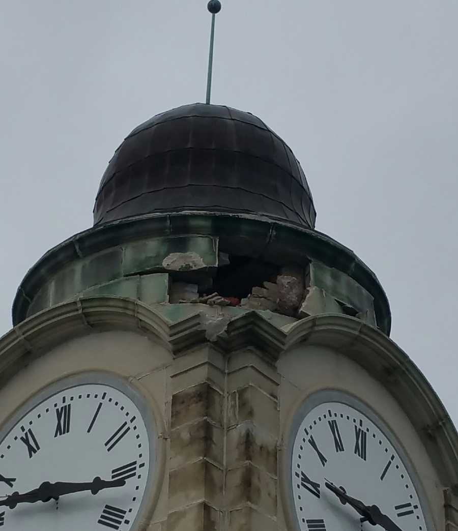 The lightning damaged the tower's brick structure and several of its cap stones, school officials said.