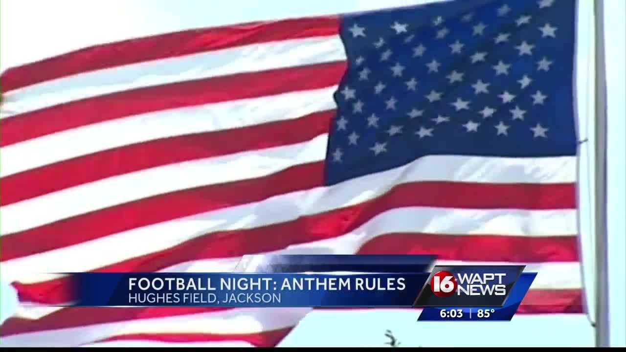 Are football players required to stand during the playing of the 'Star Spangled Banner'? 16 WAPT's Ross Adams has more.