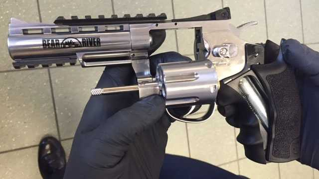 This is one of three BB guns taken from a teenager at Northpark Mall, Ridgeland police say.