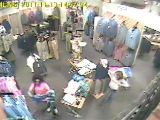 Ridgeland police say surveillance video captures a woman shoplifting $600 worth of merchandise from a clothing store.