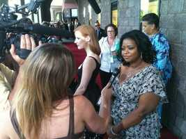 "The stars of ""The Help,"" including Octavia Spencer, attend the Mississippi premiere."