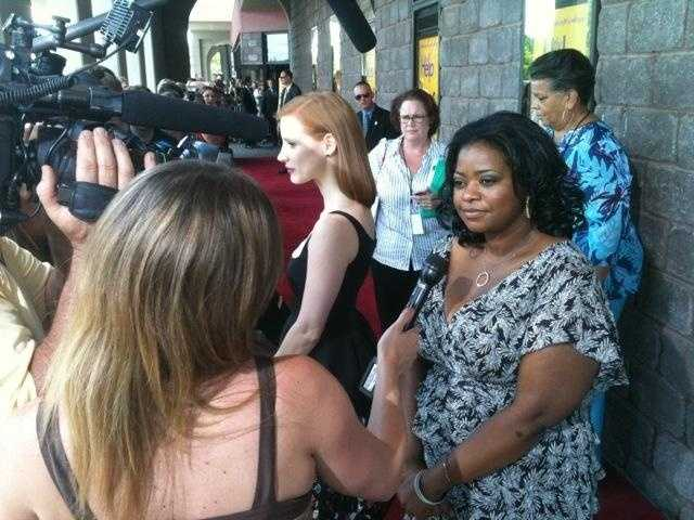"""The stars of """"The Help,"""" including Octavia Spencer, attend the Mississippi premiere."""