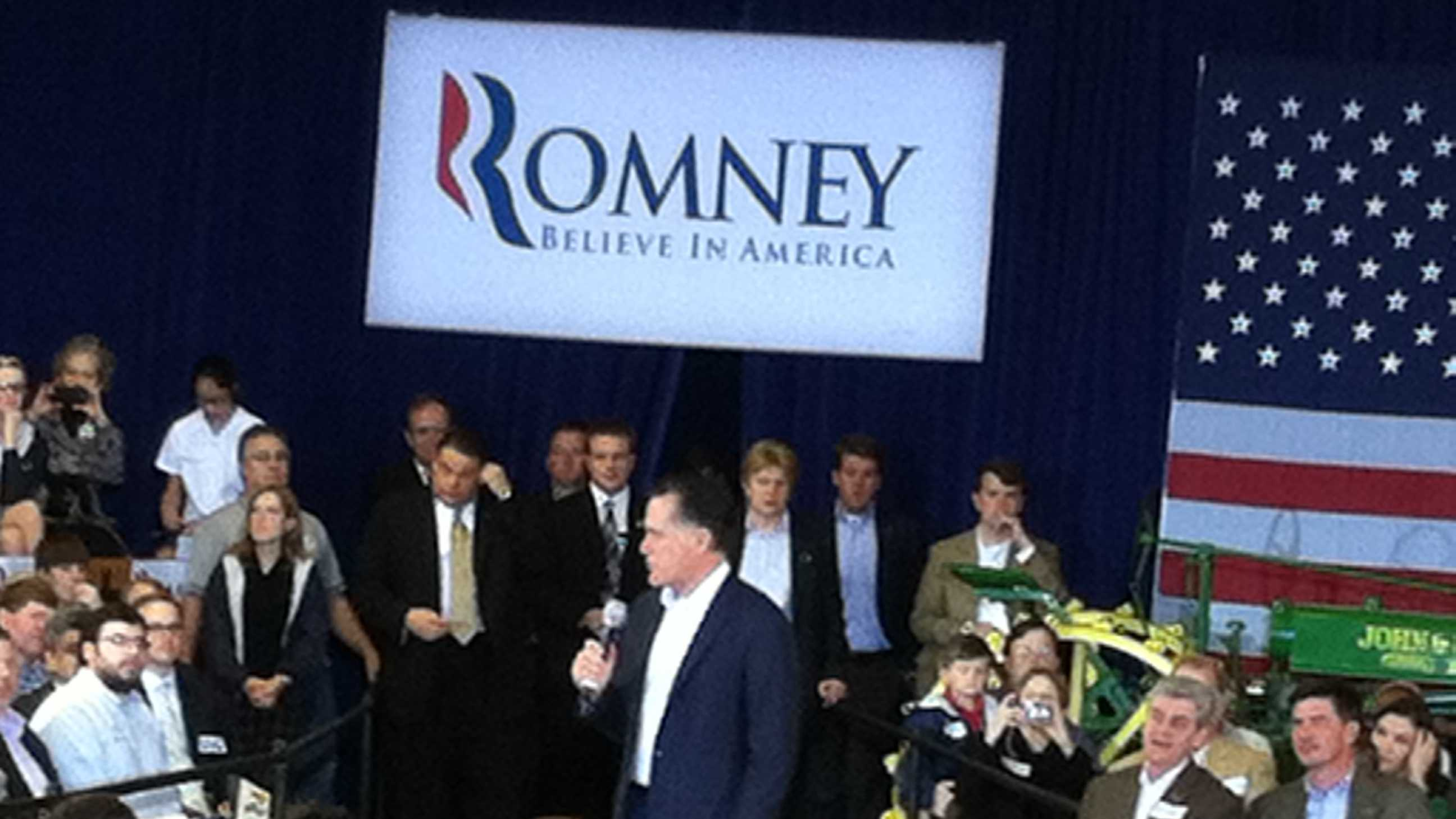 Mitt Romney speaks to supporters during a campaign rally in Jackson.