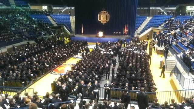Hundreds of midshipmen gather to hear Clinton's opinions on the greatest threat facing future military officers.