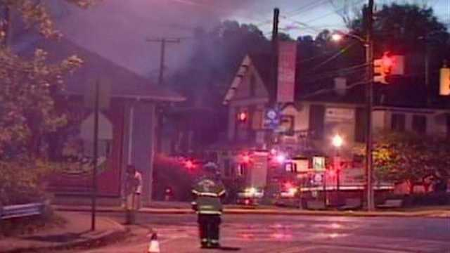 A two-alarm fire destroys the popular Mt. Washington Tavern in October 2011.