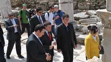 The president of Albania visits Ephesus.