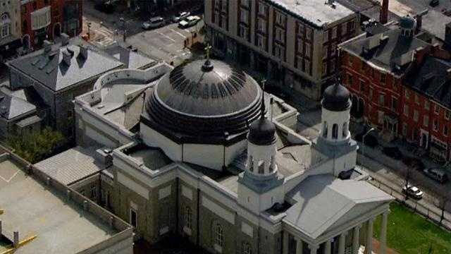 SkyTeam 11 shows aerial photos of and 11 News takes you inside the Baltimore Basilica.