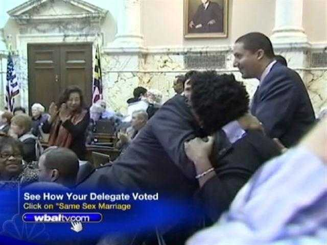 WBAL-TV 11 News reporter David Collins said the atmosphere felt like a New Year's Eve celebration on the House floor and throughout the hallways as supporters embraced the measure's passage.