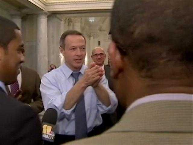Gov. Martin O'Malley ran from his second-floor office to congratulate a teary-eyed House Speaker Michael Busch.