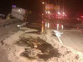 This photo from the Baltimore City Fire Department shows the damage on Interstate 95. | <b>Click Here For More Photos</b>