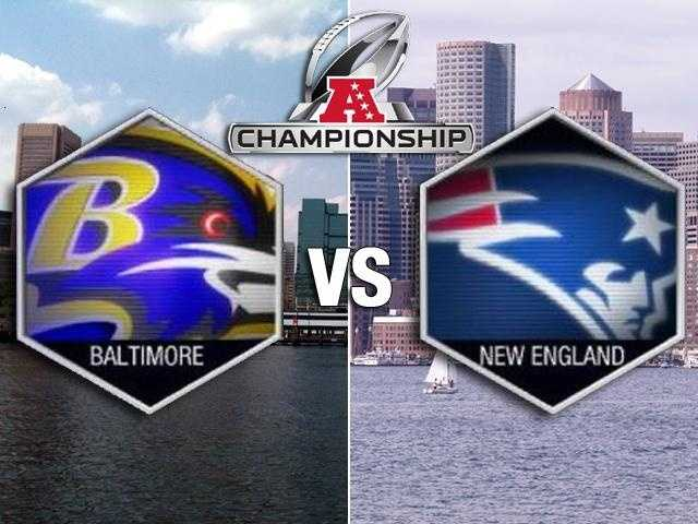 The Baltimore Ravens take on the New England Patriots in the AFC Championship game Sunday at 6:30 p.m.