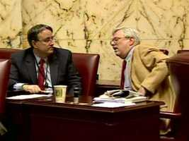 Sens. Madaleno (left) and Rosapepe (right) discuss the matter on the Senate floor.