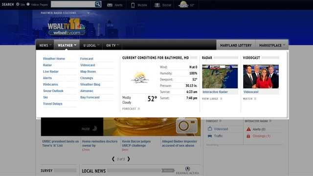 This is the weather fly-out menu that takes you directly to your favorite weather content, from the latest 11 Insta-Weather PLUS forecast to the weather maps, radar, almanac, and severe weather alerts. Go directly to the content you're looking for in one click.