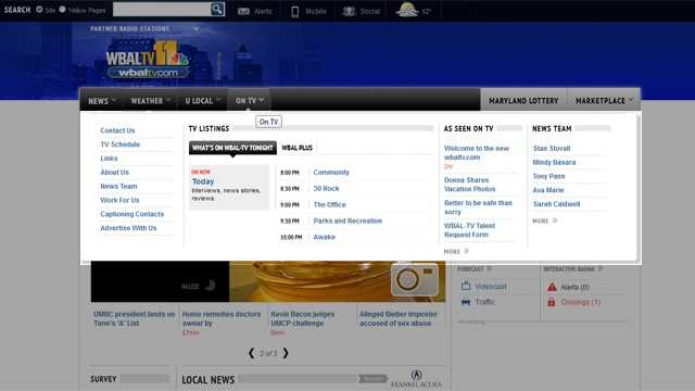 """This is the """"On TV"""" fly-out menu, where you can find TV listings, the links we mention on 11 News, and content all about your favorite television station, WBAL-TV 11."""